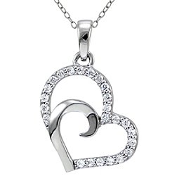 Designs by FMC Sterling Silver & Cubic Zirconia Double Open Heart Pendant Necklace