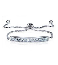 Designs by FMC Sterling Silver & Cubic Zirconia Bar Adjustable Bracelet