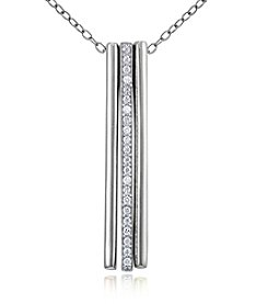 Designs by FMC Sterling Silver Linear Triple Bar Pendant Necklace with Cubic Zirconia