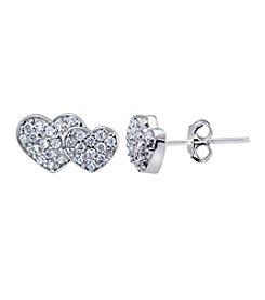 Designs by FMC Sterling Silver & Cubic Zirconia Small Pavé Double Hearts Earrings