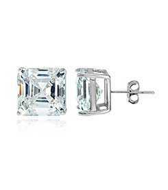 Designs by FMC Sterling Silver & Cubic Zirconia Designer Inspired Stud Earrings