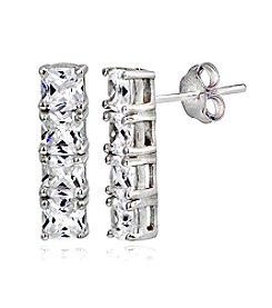 Designs by FMC Sterling Silver Cubic Zirconia Linear Mini Bar Earrings