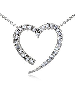 Designs by FMC Cubic Zirconia Sterling Silver Open Heart Slide Pendant Necklace