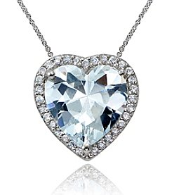 Designs by FMC Sterling Silver & Cubic Zirconia Halo Heart Slide Pendant Necklace