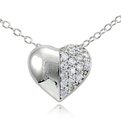 Designs by FMC Sterling Silver & Cubic Zirconia Half Pavé Small Heart Slide Pendant Necklace