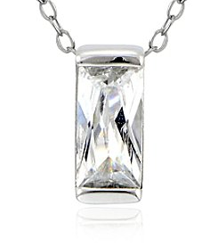 Designs by FMC Sterling Silver & Cubic Zirconia Small Emerald Cut Pendant Necklace