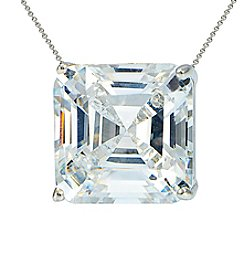 Designs by FMC Sterling Silver & Cubic Zirconia Designer Inspired Slide Pendant Necklace