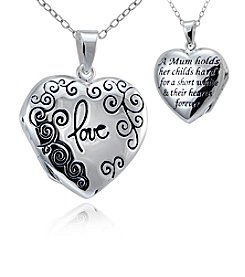 Designs by FMC Sterling Silver Heart Locket Pendant Necklace