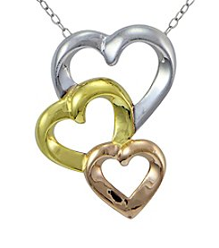 Designs by FMC Tri-Color Linear Triple Hearts Slide Pendant Necklace