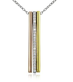 Designs by FMC Tri-Color Linear Triple Bar Pendant Necklace with Cubic Zirconia