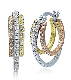 Designs by FMC Tri-Color Cubic Zirconia Pavé Triple Hoop Earrings