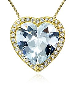 Designs by FMC 18K Gold Plate over Sterling Silver & Cubic Zirconia Halo Heart Slide Pendant Necklace