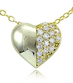 Designs by FMC 18K Gold Plate over Sterling Silver & Cubic Zirconia Half Pavé Small Heart Slide Pendant