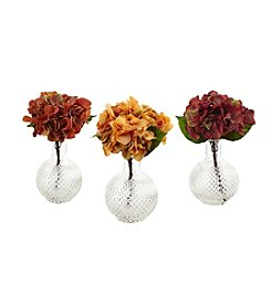 Nearly Natural® Set of 3 Autumn Hydrangea with Vases