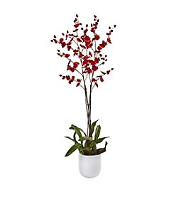 Nearly Natural® Dancing Orchid with White Glass Vase