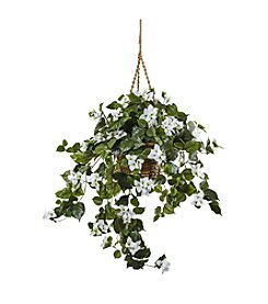 Nearly Natural® White Bougainvillea Hanging Basket