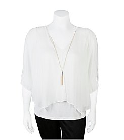 A. Byer Plus Size Chiffon Overlay Necklace Top