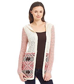 Hippie Laundry Geo Print Hooded Cardigan