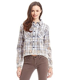 Hippie Laundry Acid Wash Plaid Shirt