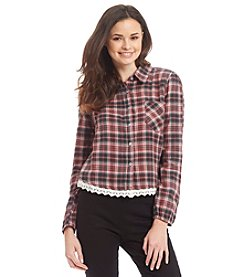 Hippie Laundry Crochet Hem Plaid Shirt