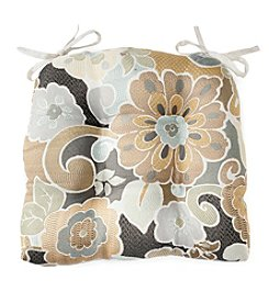 LivingQuarters Grey Floral Garnish Chair Pad