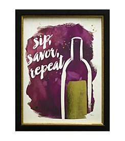 Star Creations Watercolor Wine Sip Savor Repeat Artwork