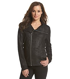 DKNY JEANS® Foil Coated Moto Jacket