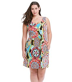 J. Valdi® Plus Size Scoop Neck Pocket Dress Swim Coverup