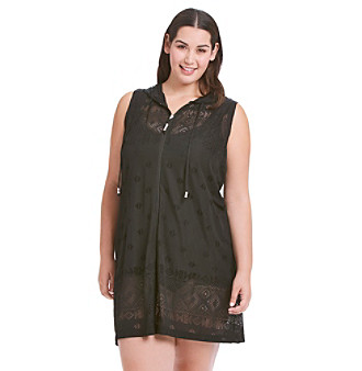 Dotti Plus Size Mesh Sleeveless Hooded Cover-Up plus size,  plus size fashion plus size appare