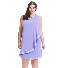 S.L. Fashions Plus Size Beaded Neckline Overlay Dress