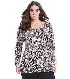 MICHAEL Michael Kors® Plus Size Zebra Print Sweater