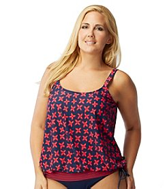 Beach House® Plus Size Cape May Blouson Tankini Top