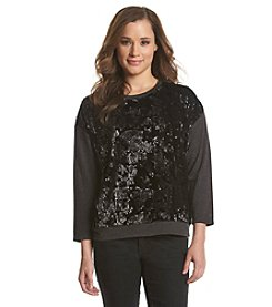 August Silk® Velvet Pullover With Sequins
