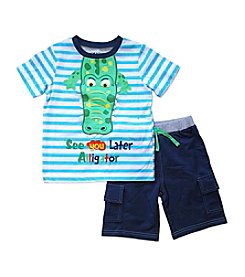 Nannette® Boys' 2T-7 Later Gator Shirt And Shorts Set