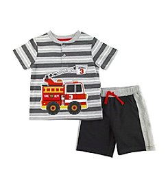 Nannette® Boys' 2T-7 Firetruck Shirt And Shorts Set