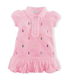 Ralph Lauren® Baby Girls' Carmel Pink Schiffli Polo Dress