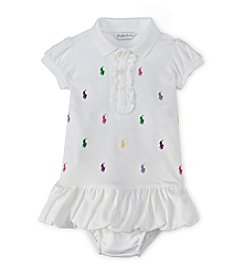 Ralph Lauren® Baby Girls' White Schiffli Polo Dress