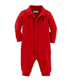 Ralph Lauren Childrenswear Baby Boys' Newborn-12M Solid Cotton Coveralls