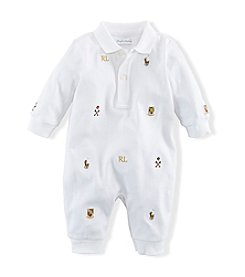 Ralph Lauren Childrenswear Baby Boys' Newborn-12M Embroidered Cotton Coveralls