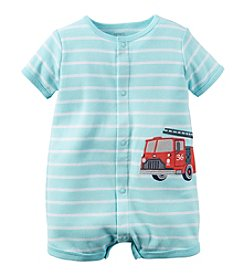 Carter's® Baby Boys' Short Sleeve Stripe Fire Truck Romper