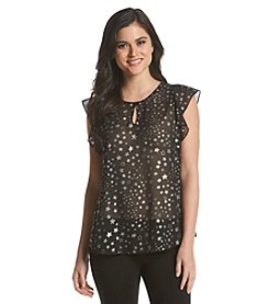 Vince Camuto® Star Print Ruffle Top