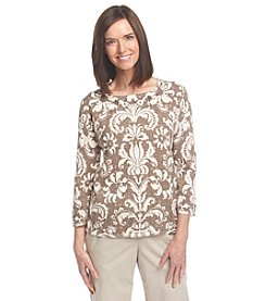 Alfred Dunner® Baton Rouge Scroll Pointelle Sweater