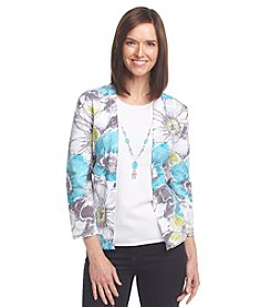Alfred Dunner® Crystal Springs Floral Layered Look Sweater