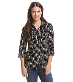 Notations Printed Button Up Blouse