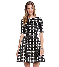 Karen Kane® Contrast Dot Scuba Dress