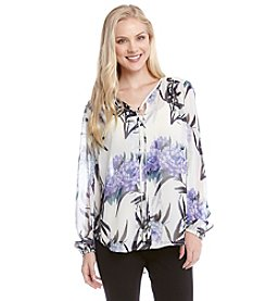 Karen Kane® Split Placket Tie-Front Top
