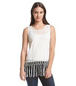 Adiva Sleevless Fringe Top
