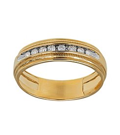 10K Yellow Gold Men's Band with 0.20 ct. t.w. Diamond Accent