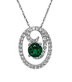 Fine Jewelry Sterling Silver Created Emerald Pendant Necklace with Created White Sapphire