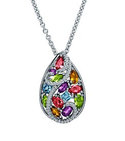 Fine Jewelry Sterling Silver Multicolor Pendant Necklace